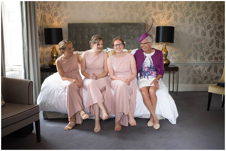 blush bridesmaids Morden Hall wedding