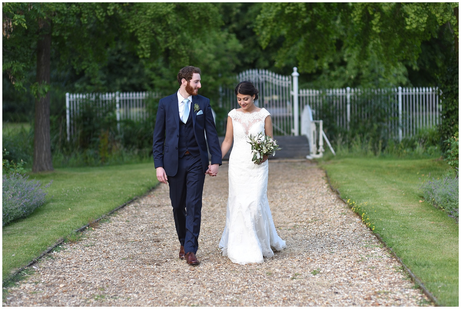 wedding photography at white bridge at Morden Hall London