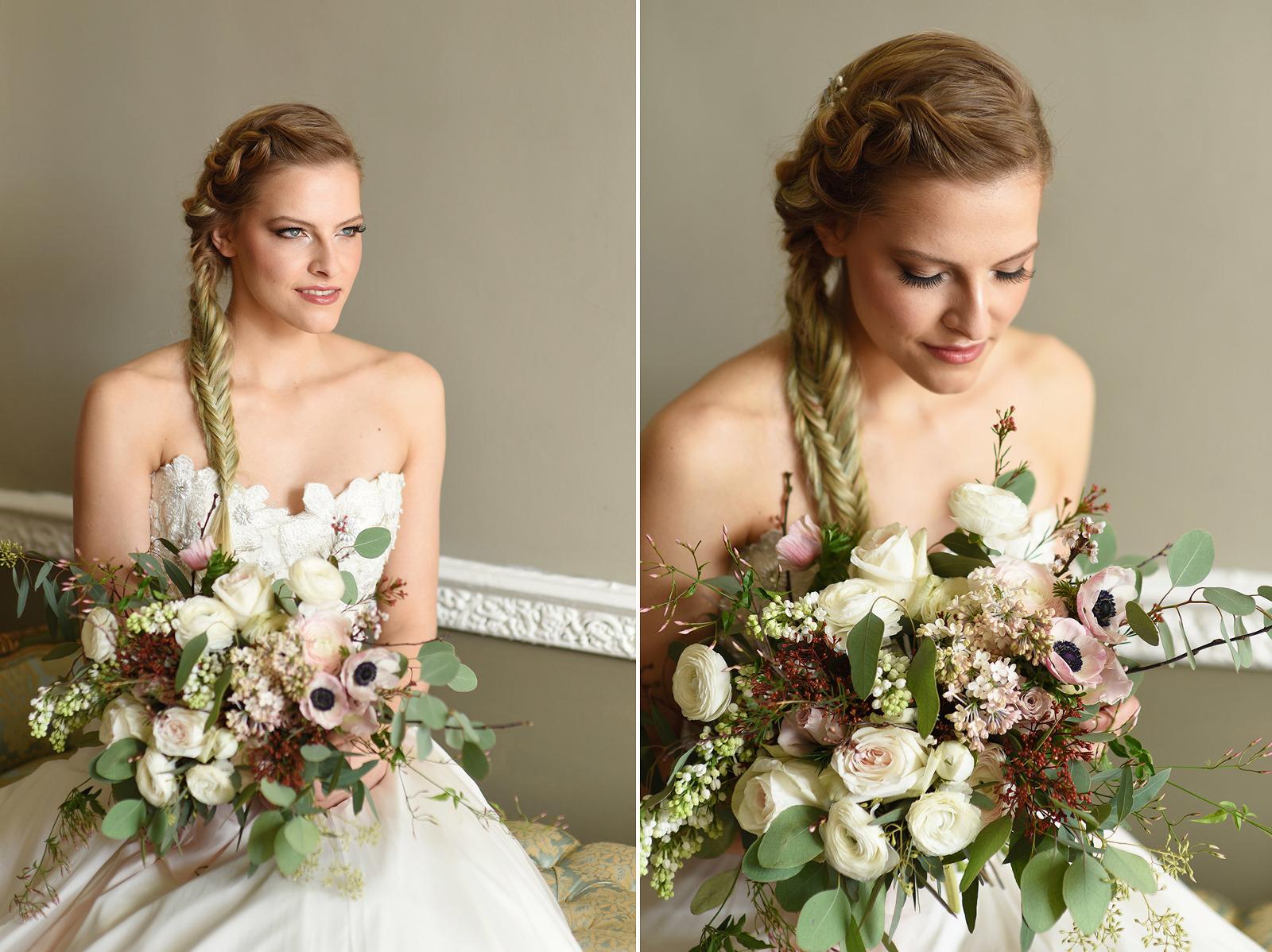 bridal portrait with wedding flowers