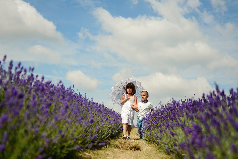 children in Mayfield Lavender farm Surrey