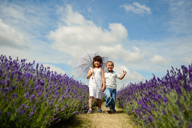 little boy and girl walking on Mayfield Lavender farm Surrey