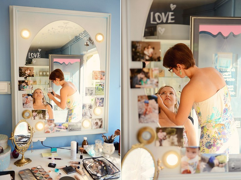 bride getting ready with make up