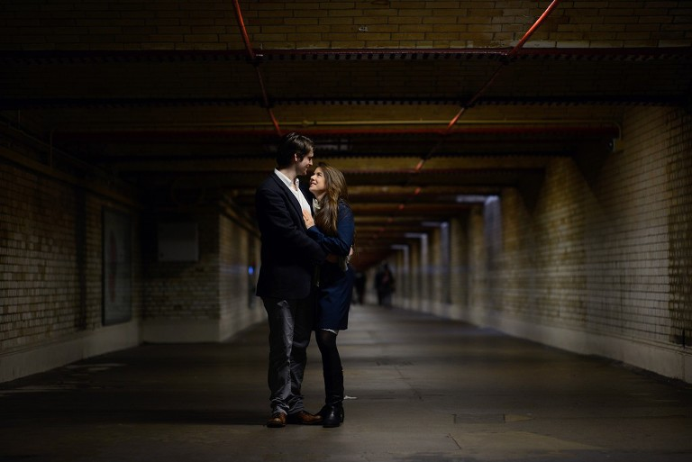 couple in Central London tunnel