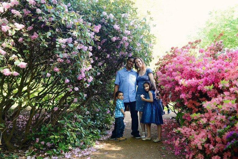 family surrounded by beautiful flowers in Richmond Park London