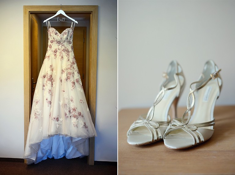Wedding dress: Geraldine by Sophia Tolli and bridal shoes