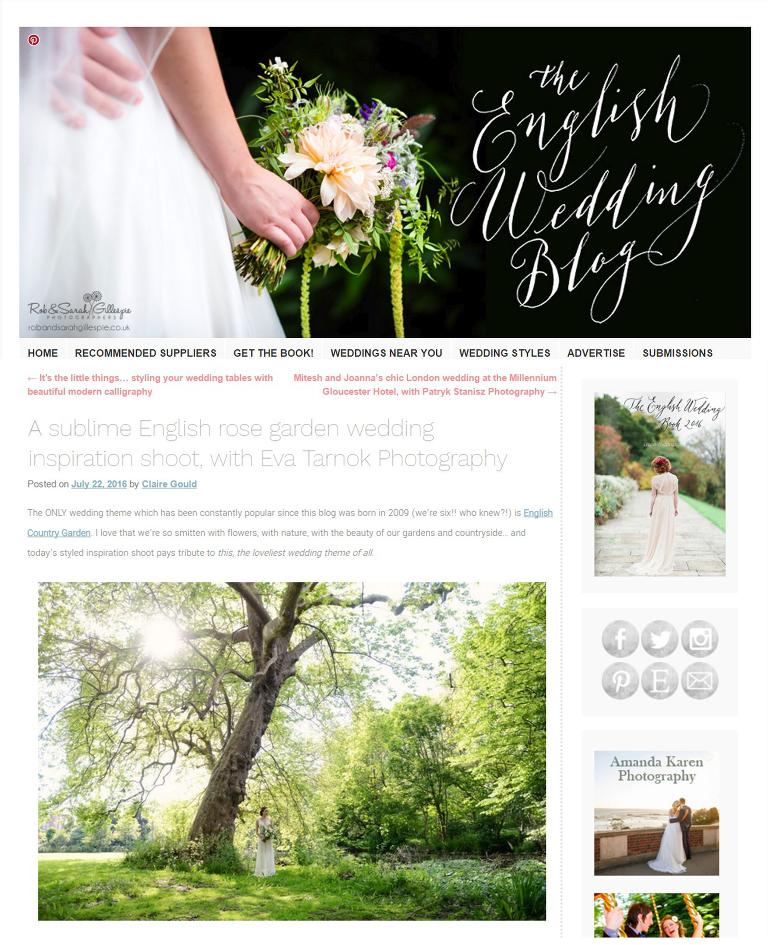 English Wedding Blog feature