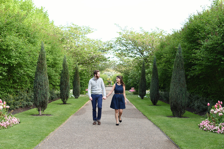 couple walking in Regents Park Central London, engagement photography