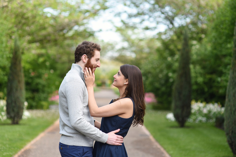 couple looking at each other in Regents Park Central London