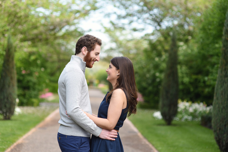 couple smiling in Spring in Regents Park Central London