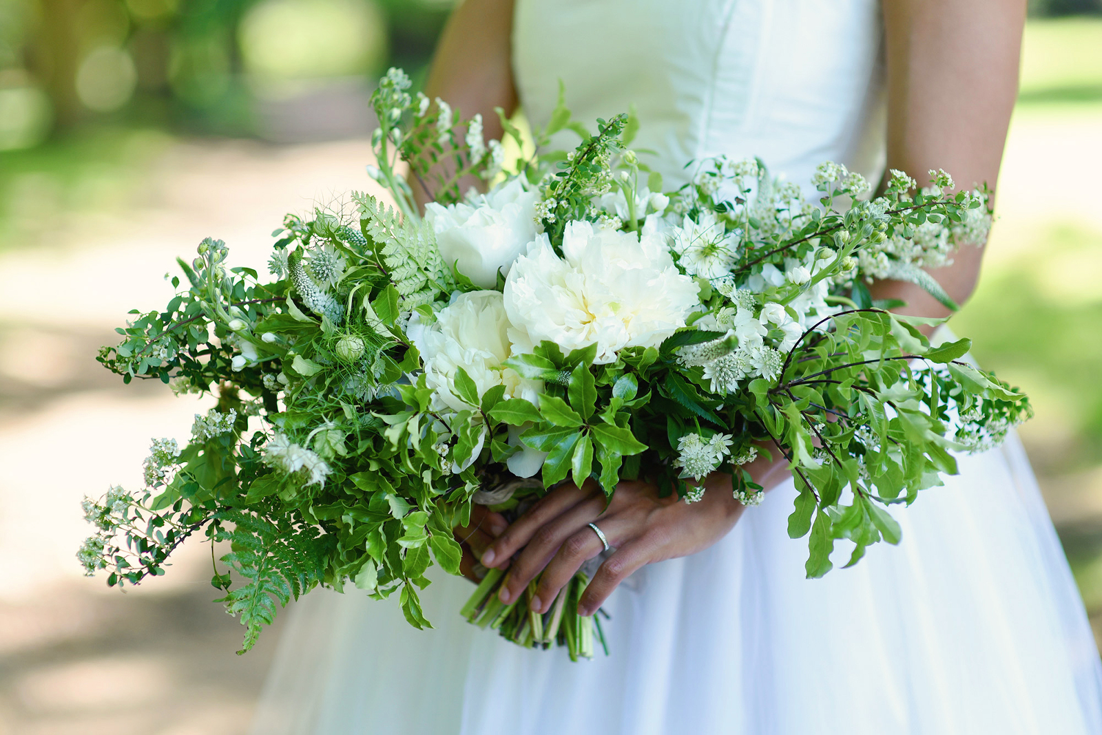 wild white wedding bouquet