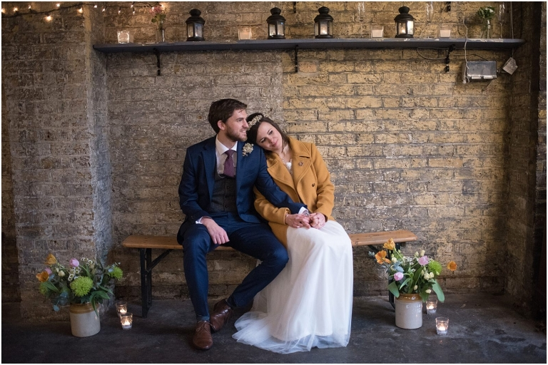 Autumn rustic wedding portrait