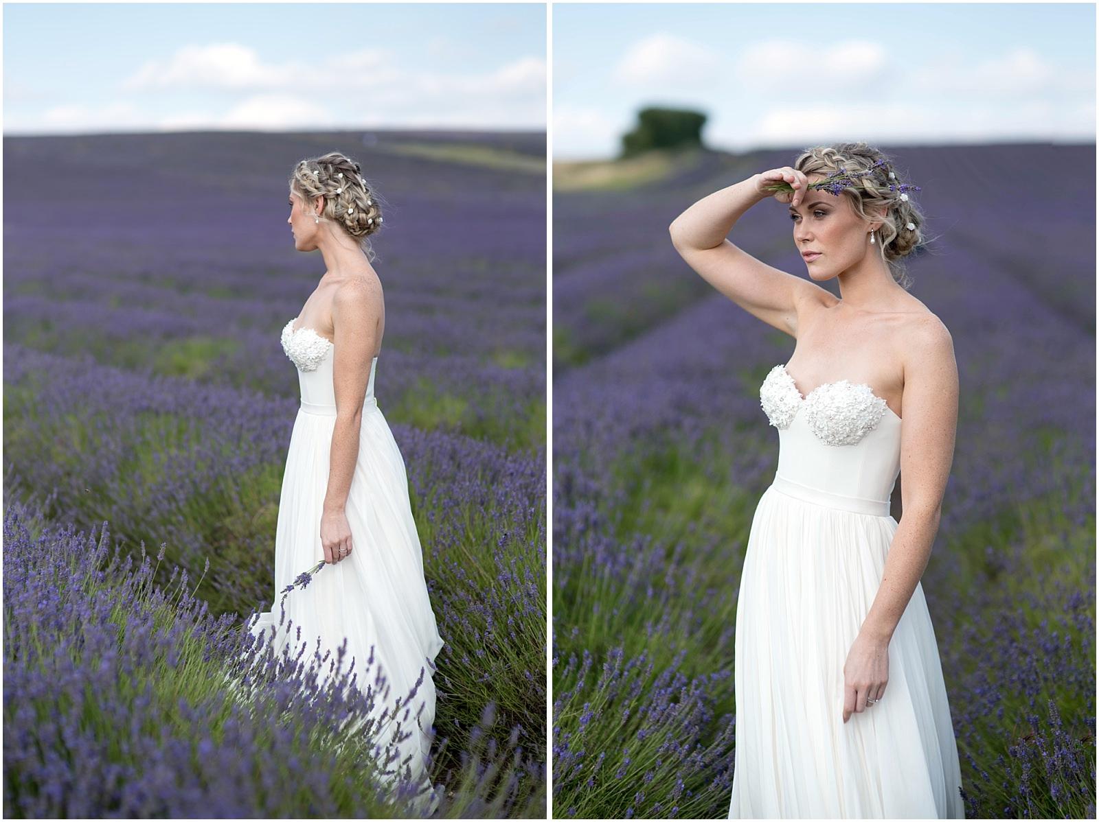 lavender field wedding portrait