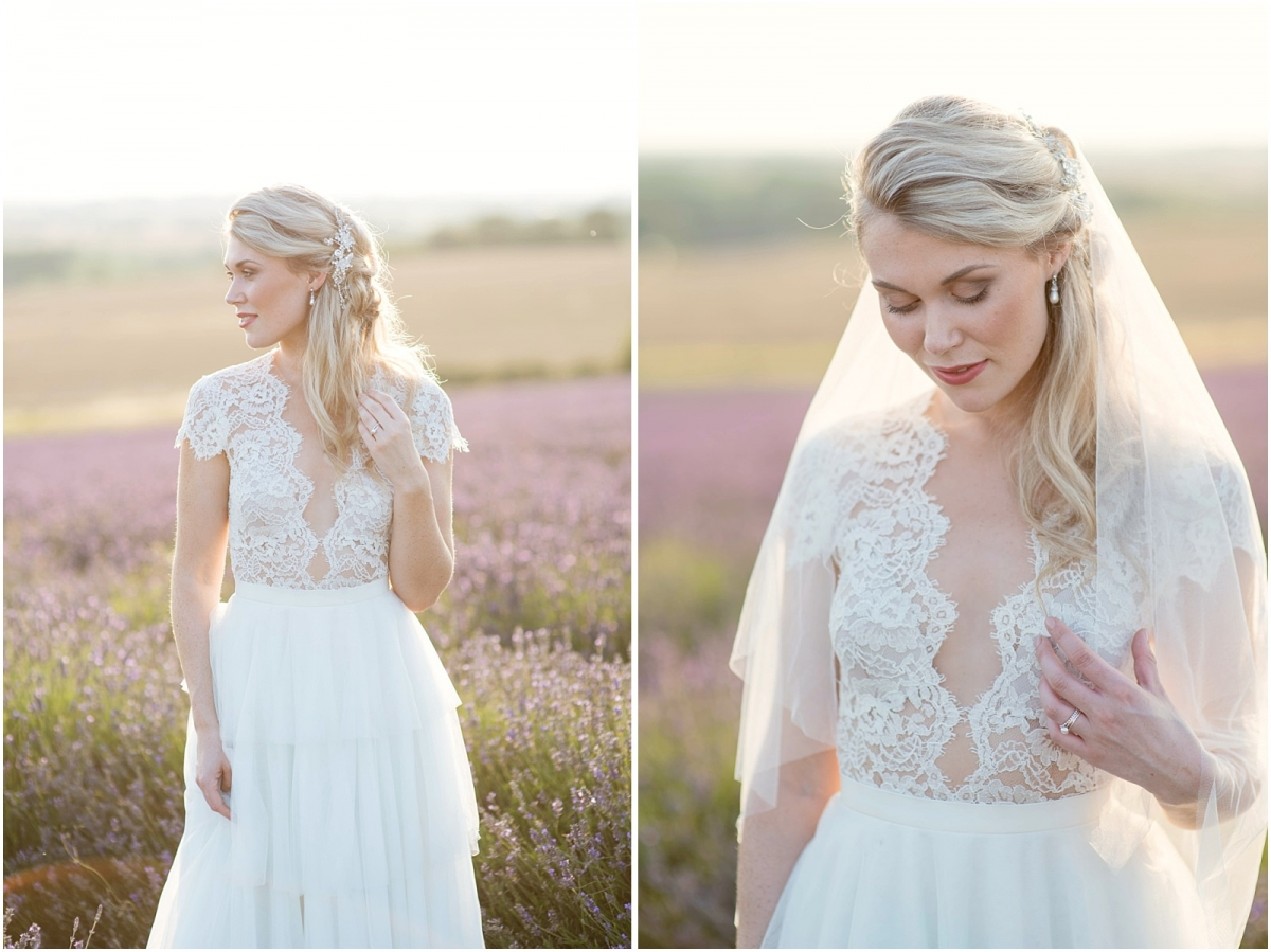 lavender sunset bridal portrait