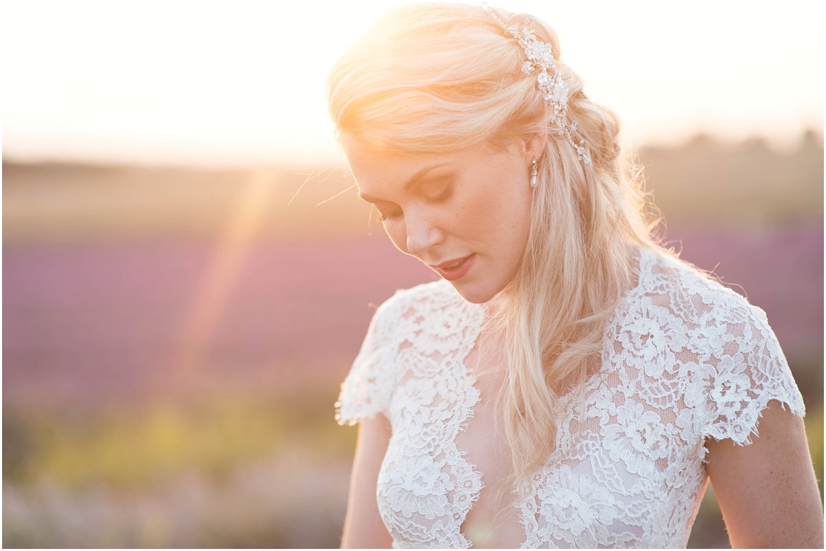 lavender bridal portrait sunset