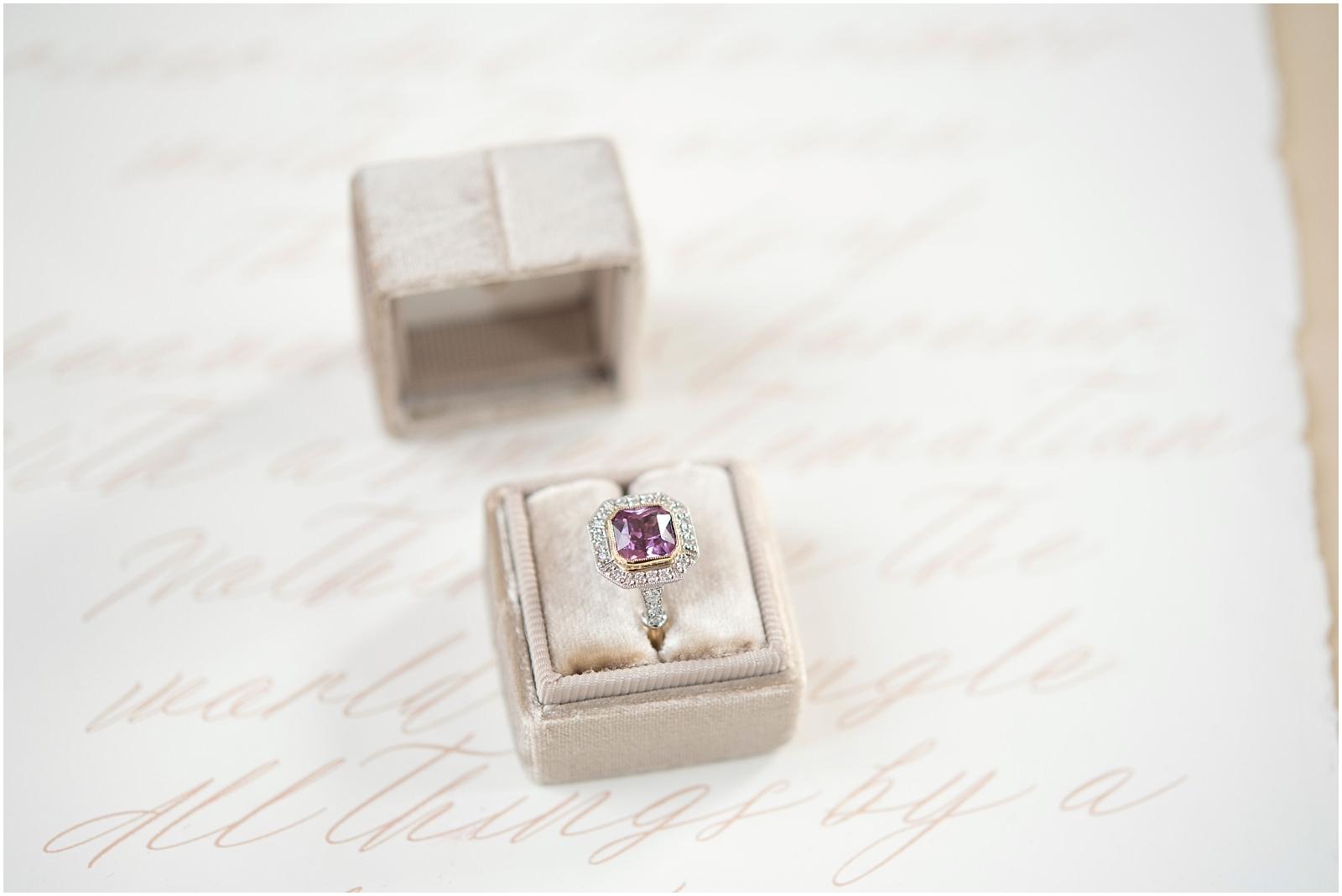 pink engagement ring wedding photographer London