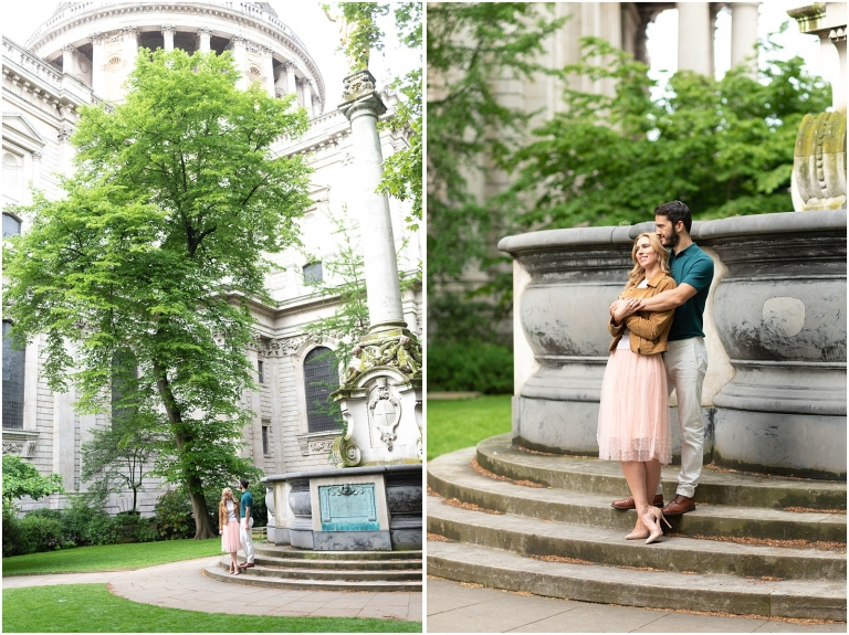 London couple engagement photography st pauls cathedral romantic intimate couple by fountain