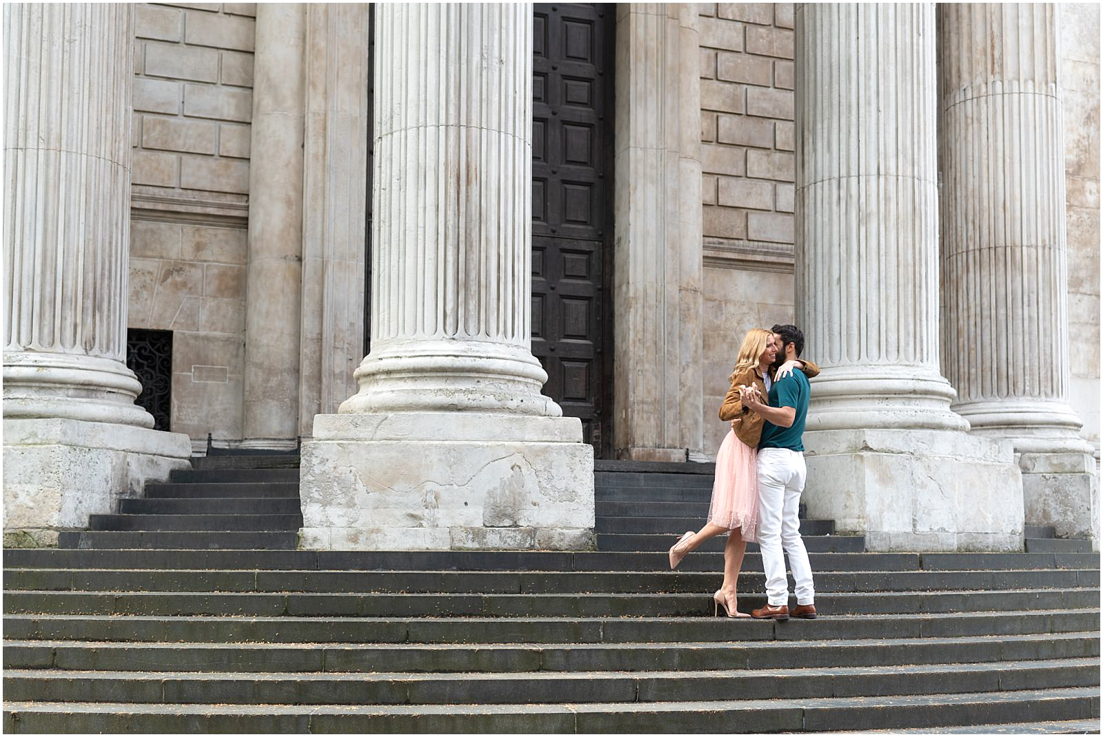 London couple engagement photography st pauls cathedral romantic intimate couple portrait on stairs