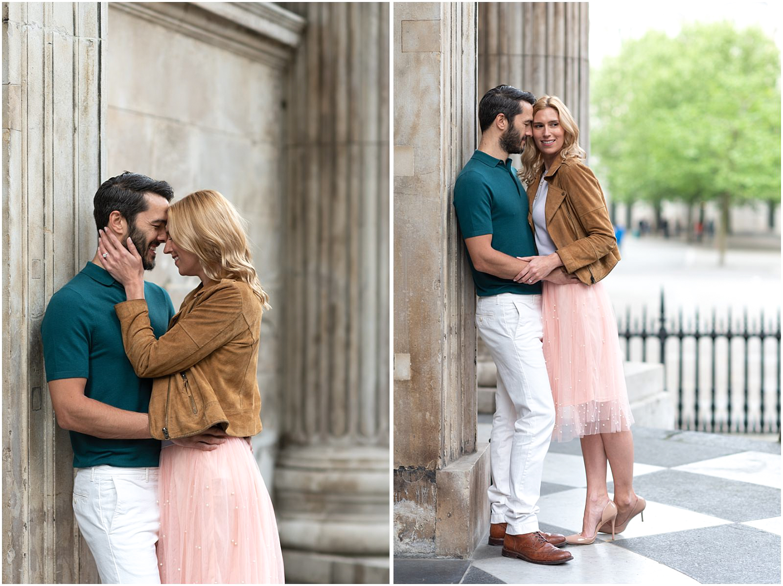 London couple engagement photography st pauls cathedral romantic intimate couple kissing