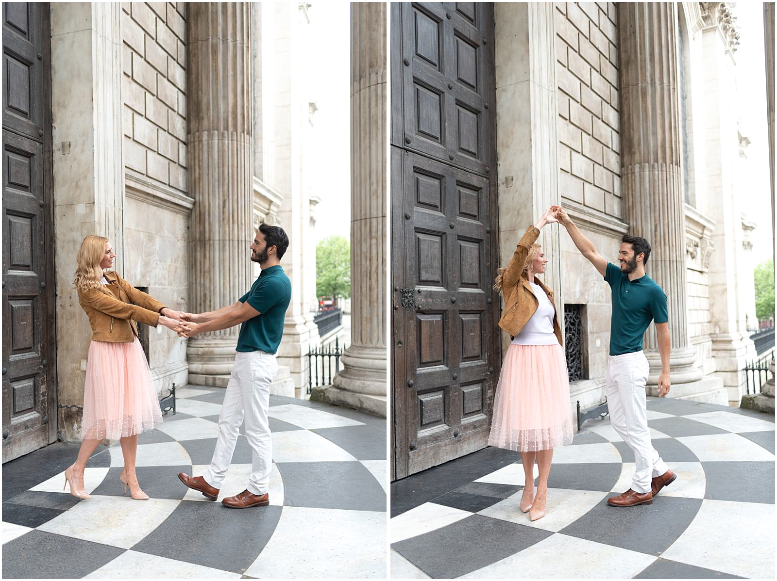 London couple engagement photography st pauls cathedral couple dancing