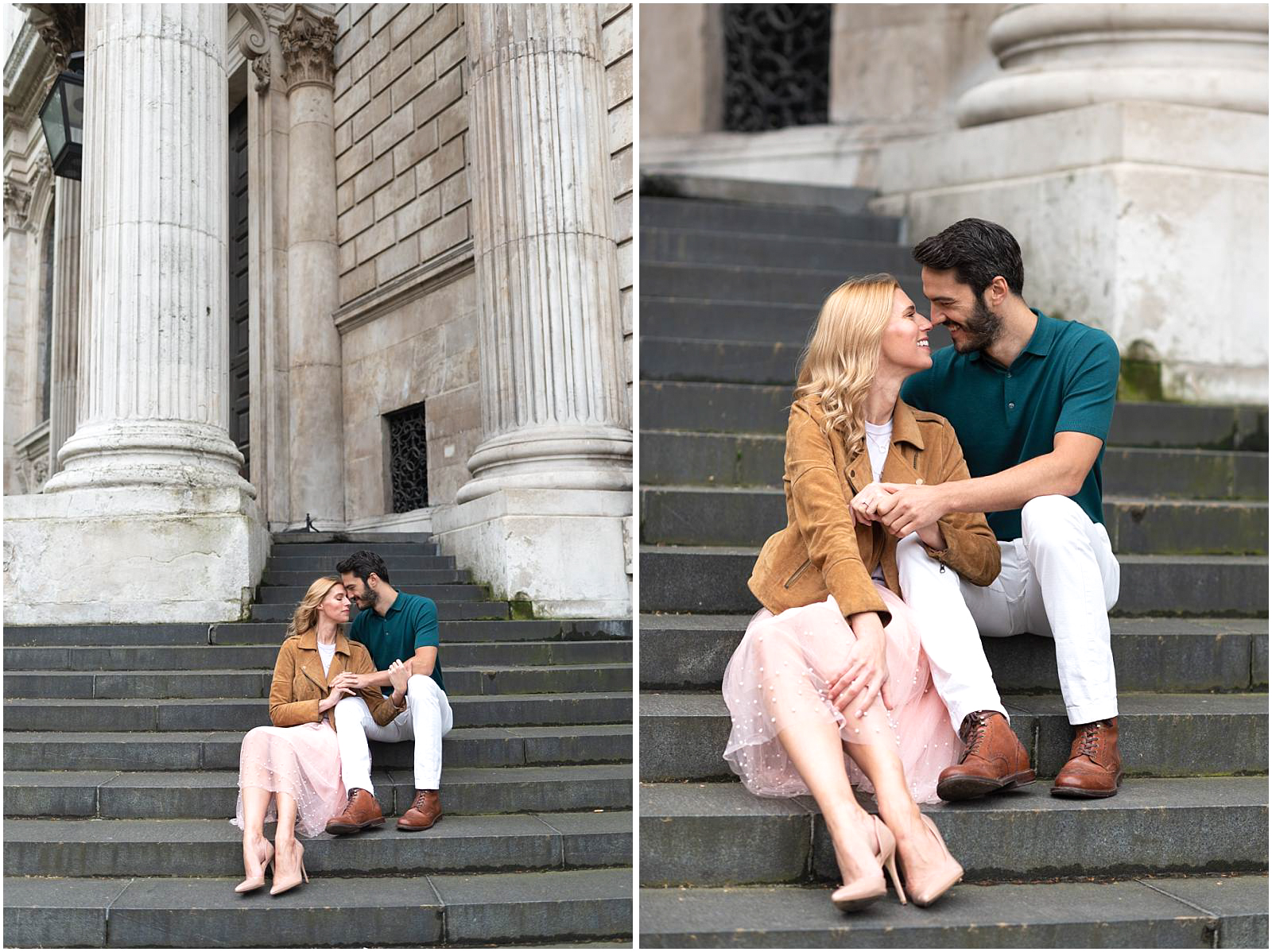 intimate London couple engagement photography st pauls cathedral couple sitting on stairs