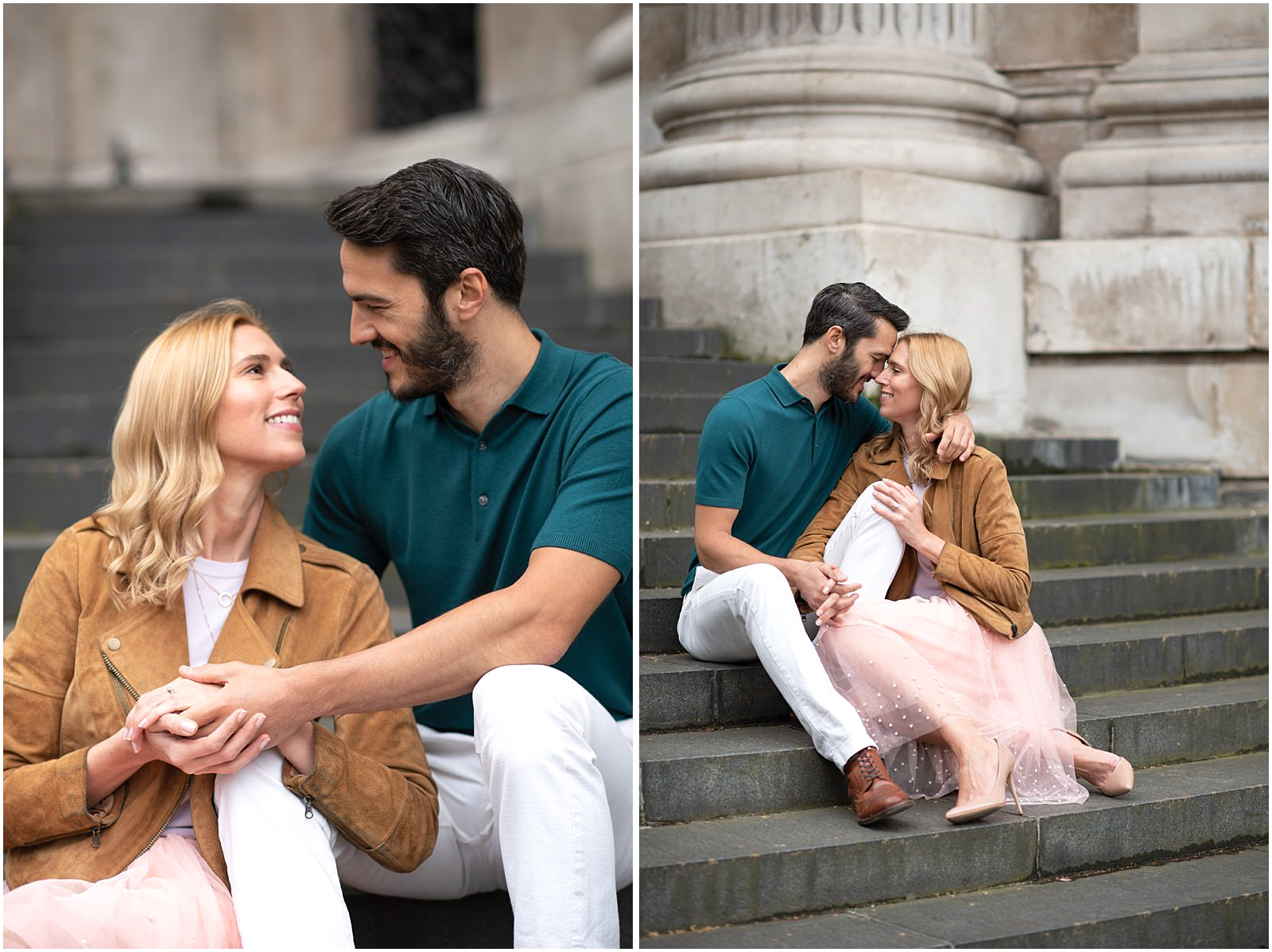 beautiful romantic London couple engagement photography st pauls cathedral couple sitting on stairs