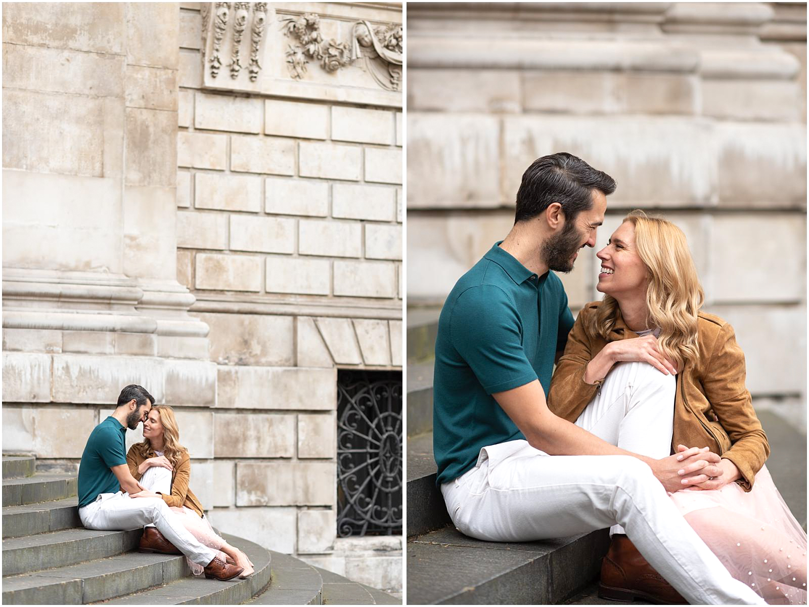 London couple engagement photography st pauls cathedral romantic couple sitting on stairs
