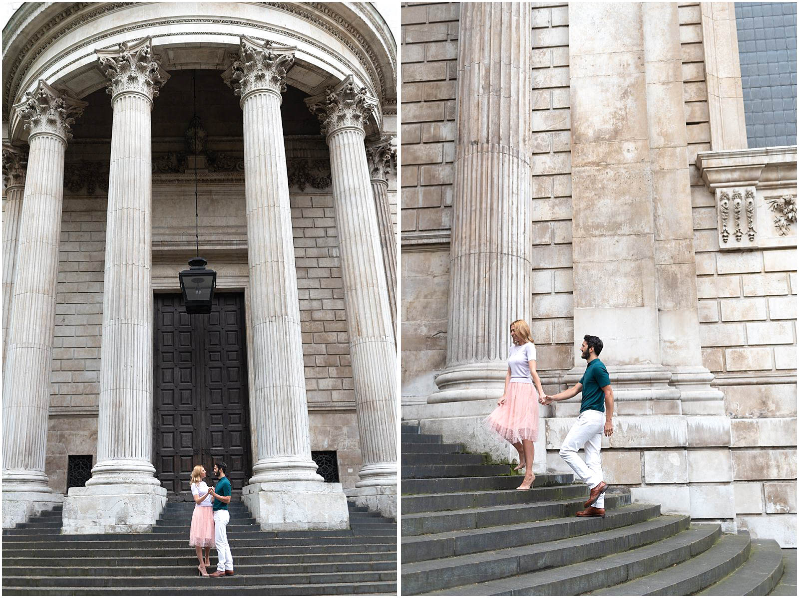 London couple engagement photography st pauls cathedral couple walking stairs