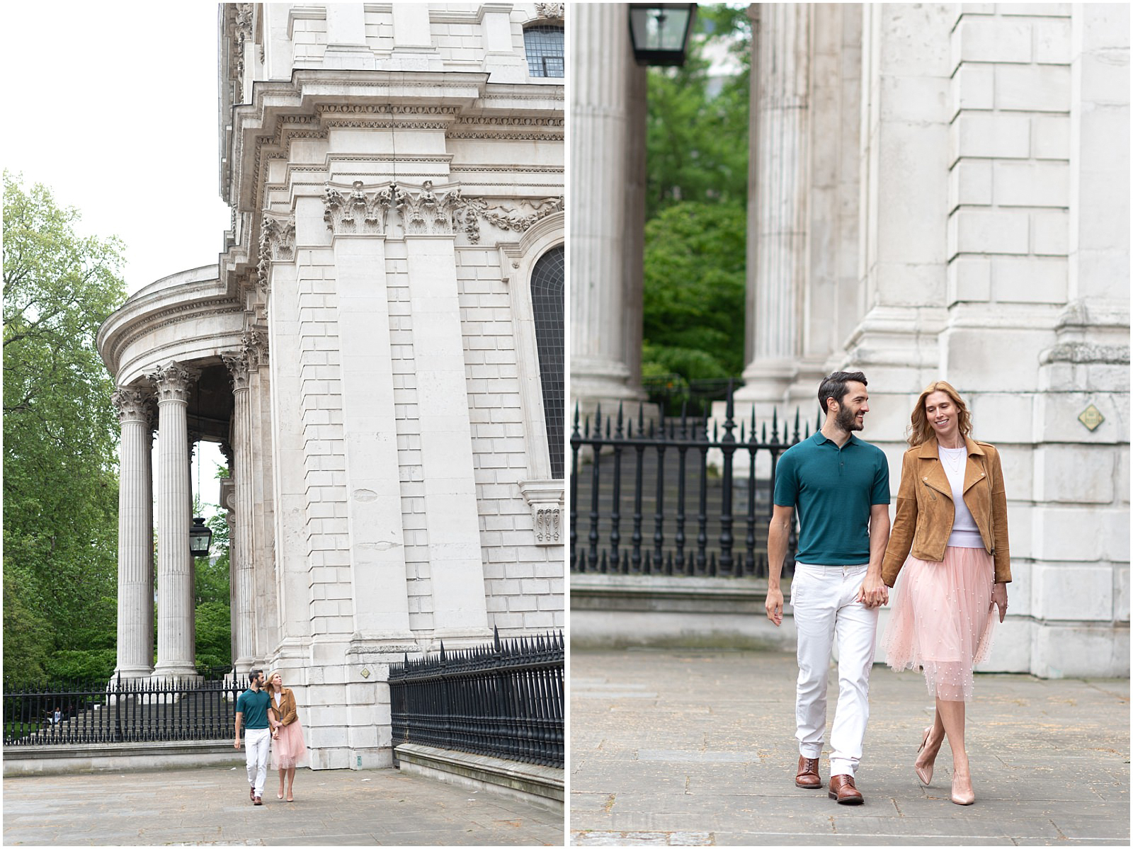 London couple engagement photography st pauls cathedral couple walking