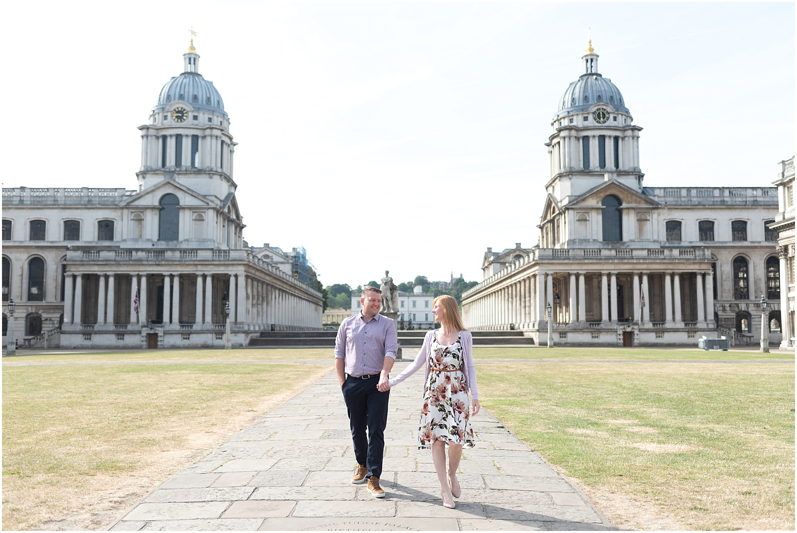 Greenwich engagement shoot London engagement photography couple walking