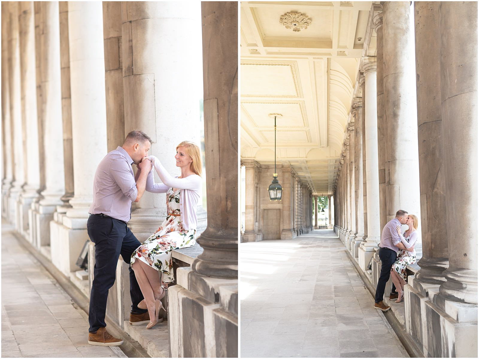 romantic London engagement pastel colors
