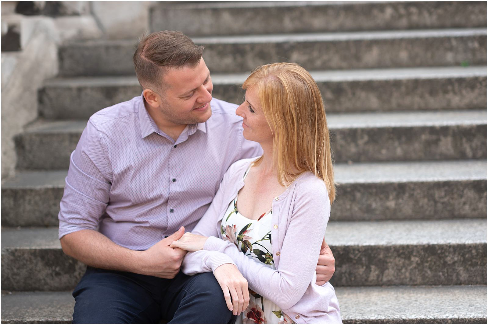 romantic London couple engagement Greenwich on stairs