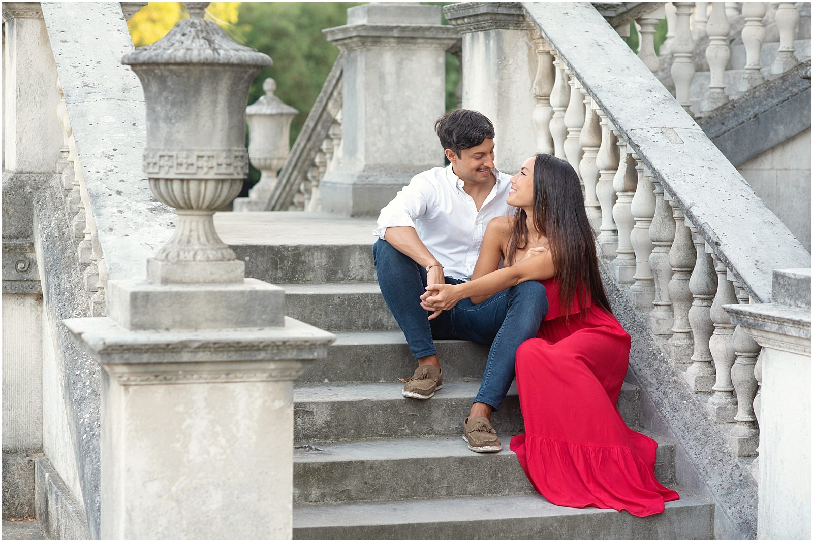 Chiswick House pre wedding photography couple on stairs