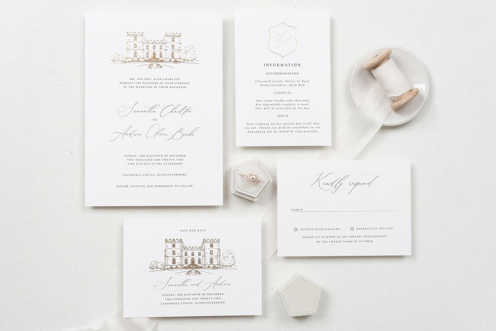 Fine Art Luxury foiled wedding stationery The Bridal Paperie