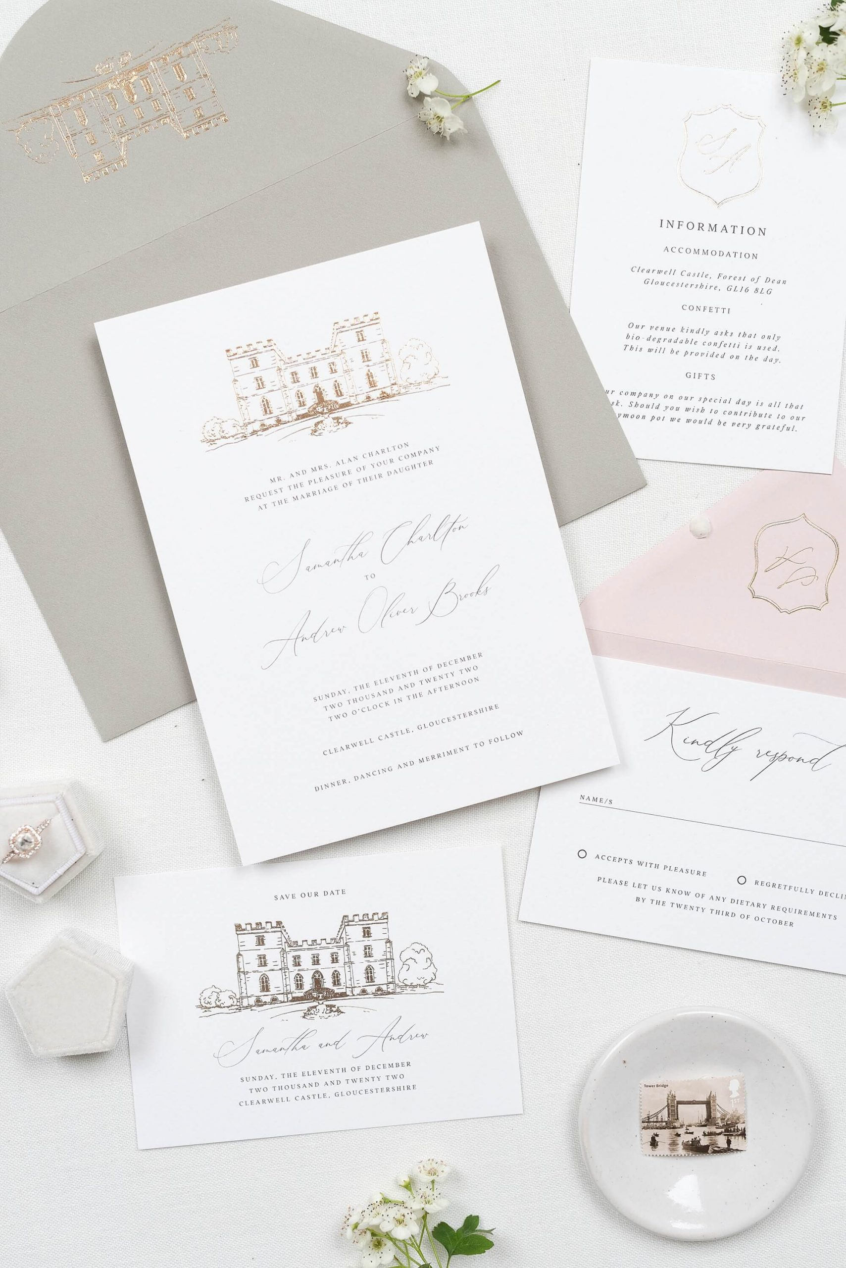 Fine Art Luxury foiled wedding stationery London