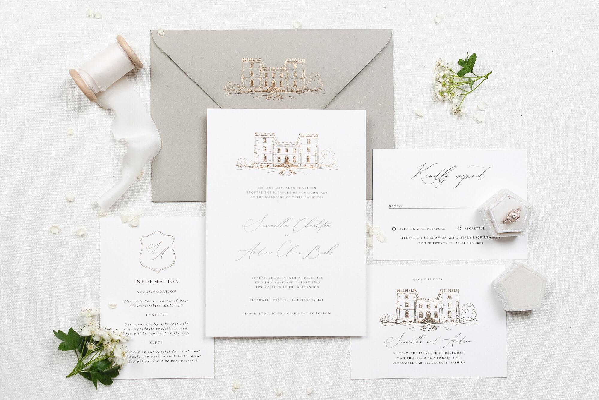 elegant, modern luxury wedding stationery