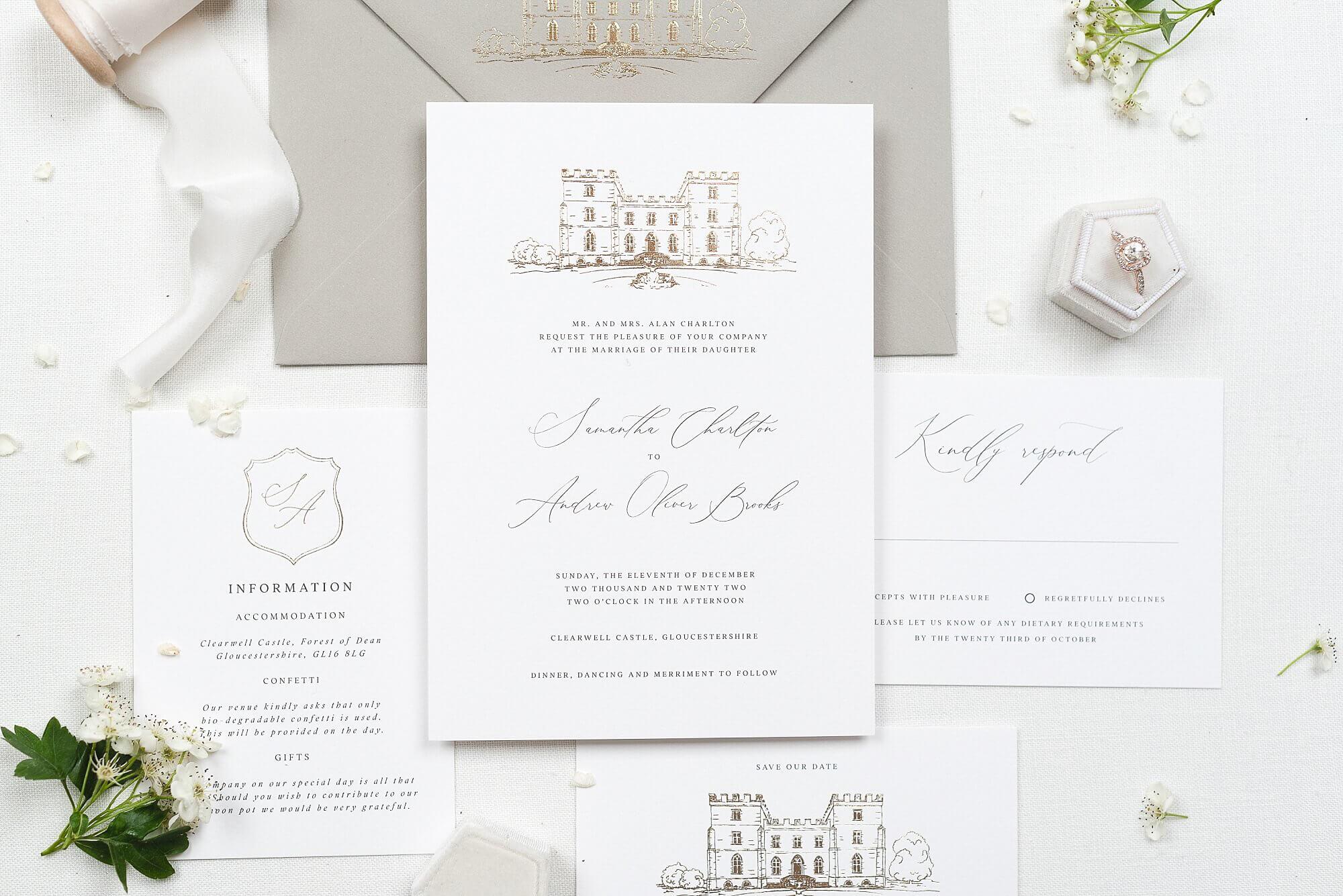 Luxury foiled wedding stationery UK