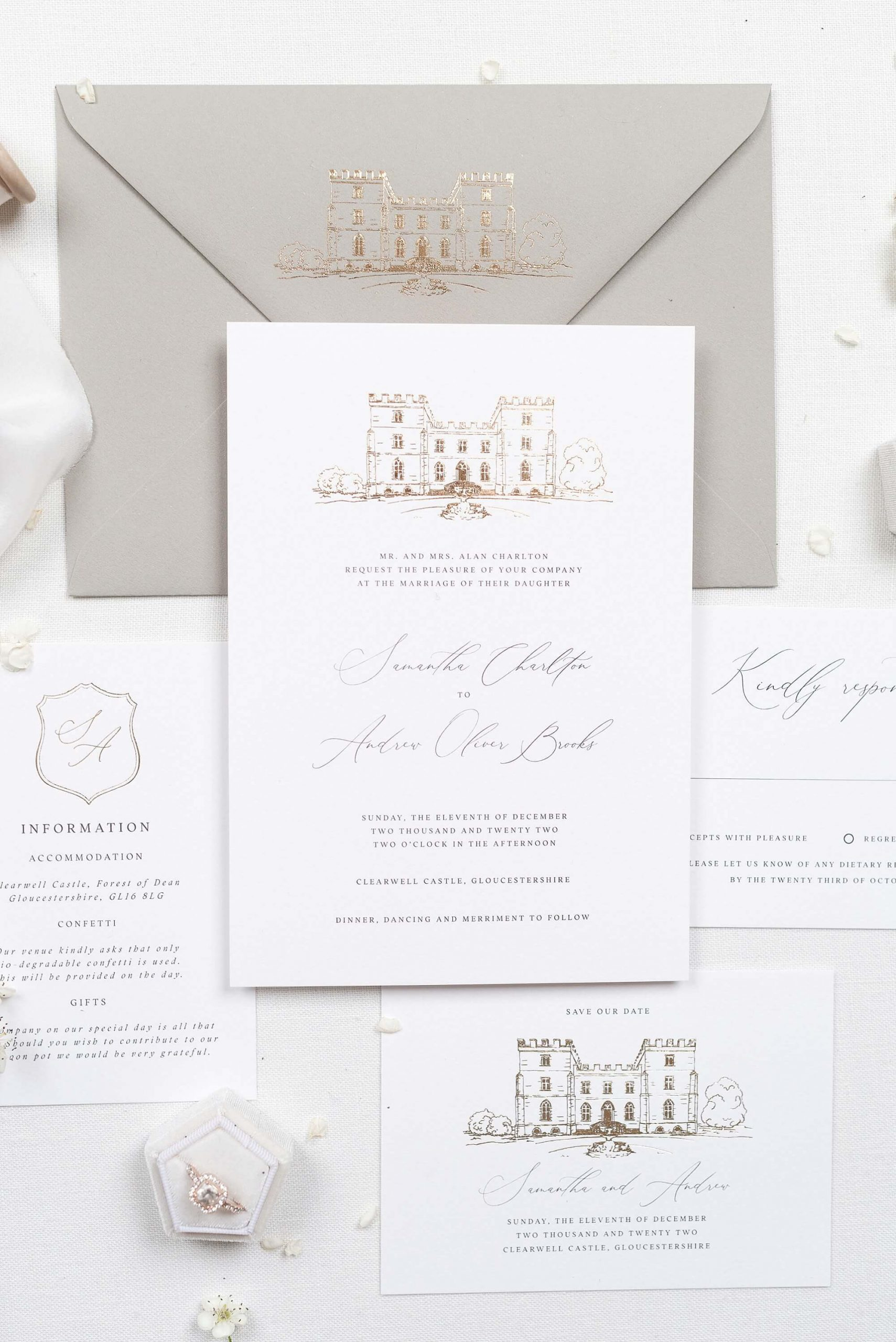Luxury foiled wedding stationery The Bridal Paperie