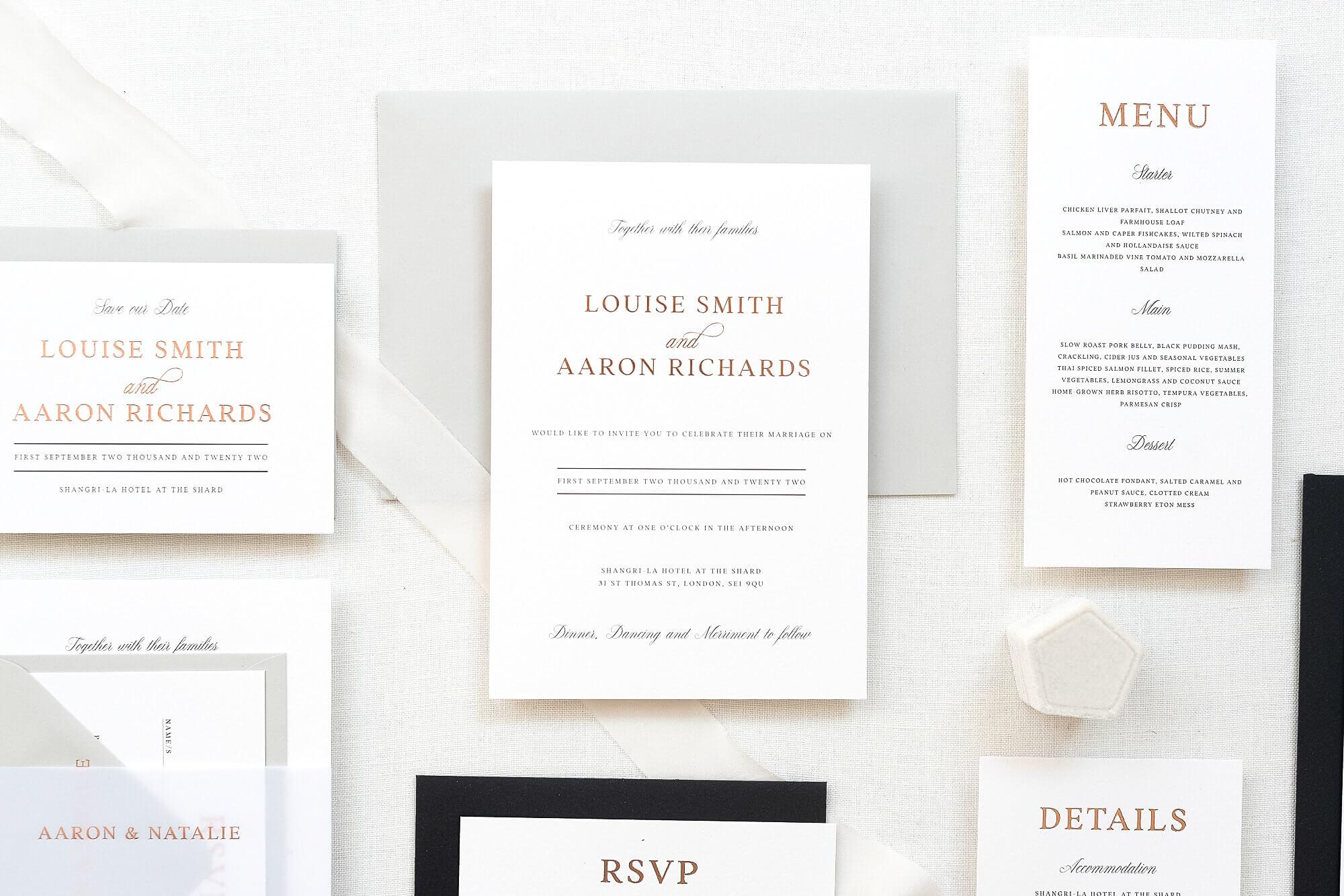 luxury wedding stationery UK