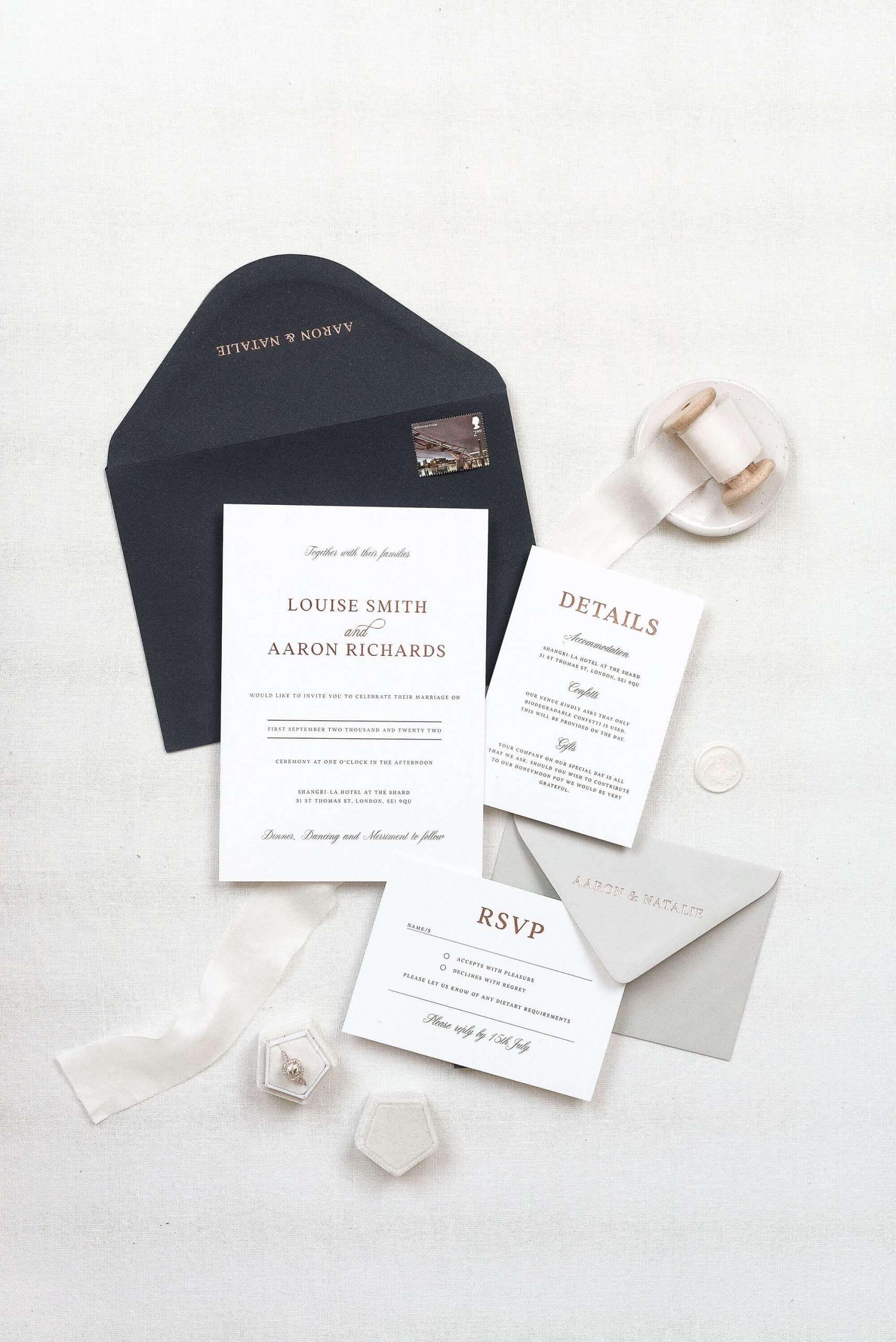 Luxury wedding stationery collection by The Bridal Paperie